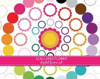 digital scalloped frames, clip art scallop frames, digital scrapbook, floral frame, instant download, FR158