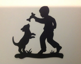 Boy With Dog Scrapbooking Die Cut Embellishment