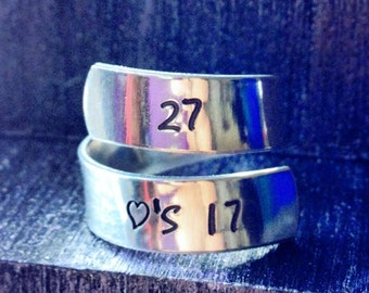 Roller Derby Ring, Derby Wife Ring, Spiral Ring, Personalized Ring, Engraved ring, Adjustable  SPRALS01