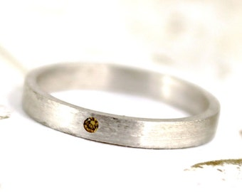 Yellow Diamond Ring - Sterling Silver Band - Men's or Ladies Jewellery - Wedding Bands - Engagement Rings - Matte Finish