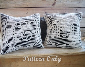 Filet Crochet Complete Alphabet Crochet Pillow Pattern