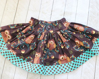 owl skirt girls skirt twilry skirt fall skirt owl clothng owl outfit owl set birthday fall winter owl outfit owl clothing teal brown