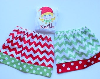 Matching sibling Christmas set Matching sister Christmas set Christmas outfits sibling Christmas skirt sets elf shirt chevron polkadot