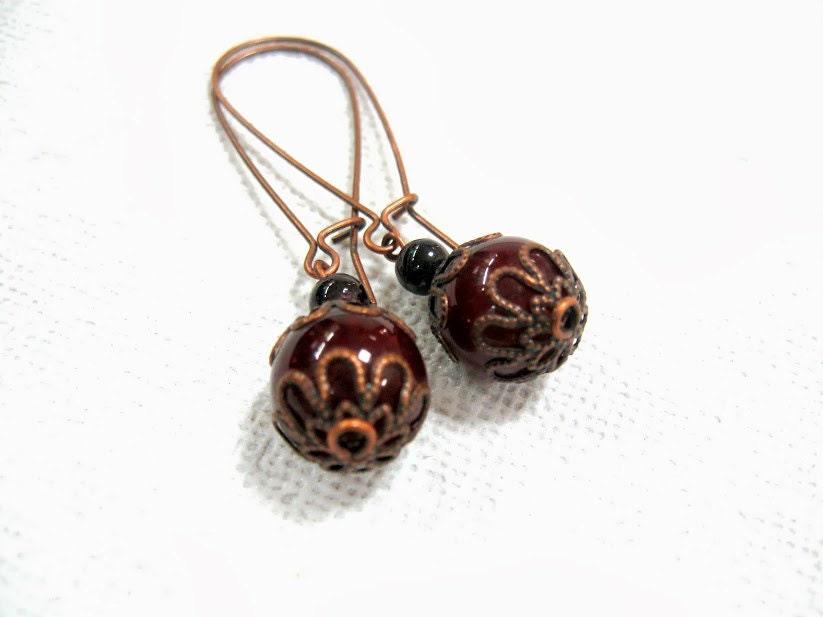 Marsala Burghundy dark red earrings Pantone fashion color