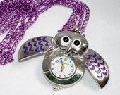 SALE  Purple Owl Locket Watch (JWL 136)