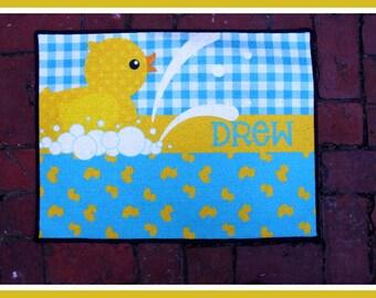 Nursery Rug Personalized Monogrammed Gifts New Baby Gift Nursery Decor Baby Girl Baby Boy Nursery Rug Mat Customized Rubber Duck Nursery Art