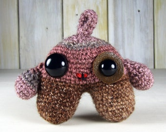 Amigurumi Baby Monster Pink, Brown and Grey