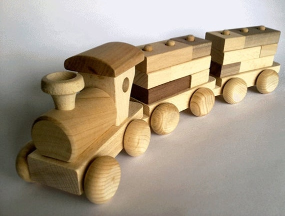 Wood Building Toys For Boys : Off wooden toy train set with building blocks