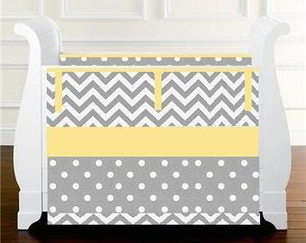 Gray yellow Crib bedding Baby Bedding Crib Set- Gray Chevron Polka Dots bumper or bumperless