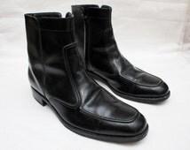 """90's Vintage """"FLORSHEIM"""" Black Leather High-Top Boots Sz: 11 (Men's Exclusive)"""