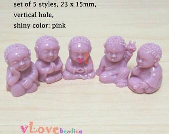 Resin little buddha beads, set of 5 styles, 23 x 15mm. (V-79)