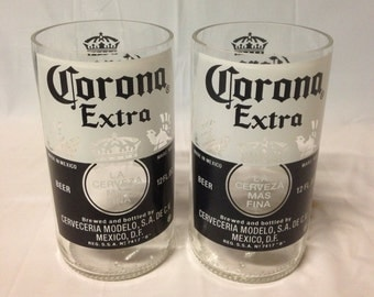 Corona Beer Bottle Tumbler Drinking Glasses. Recycled Glass Bottles. Man Cave Cups.