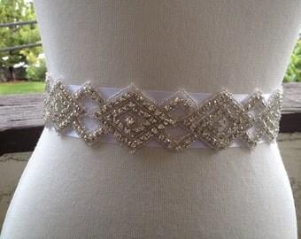 Bridal Wedding Belt Sash,Bridal Sash,Best seller sash ,Rhinestone Crystal Sash,Swarovski beaded sash,Silver Sash