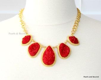 Red Druzy Stone Necklace Geode Stone Bib Necklace Statement Necklace