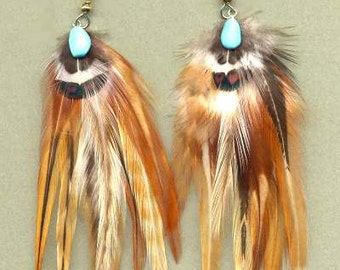 CUSTOM Hackle Feather Earrings
