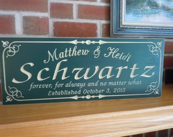 Wedding Gift Personalized Carved Wooden Anniversary Engagement Family Sign Last Name Engraved Plaque Housewarming Established Date Poplar 39