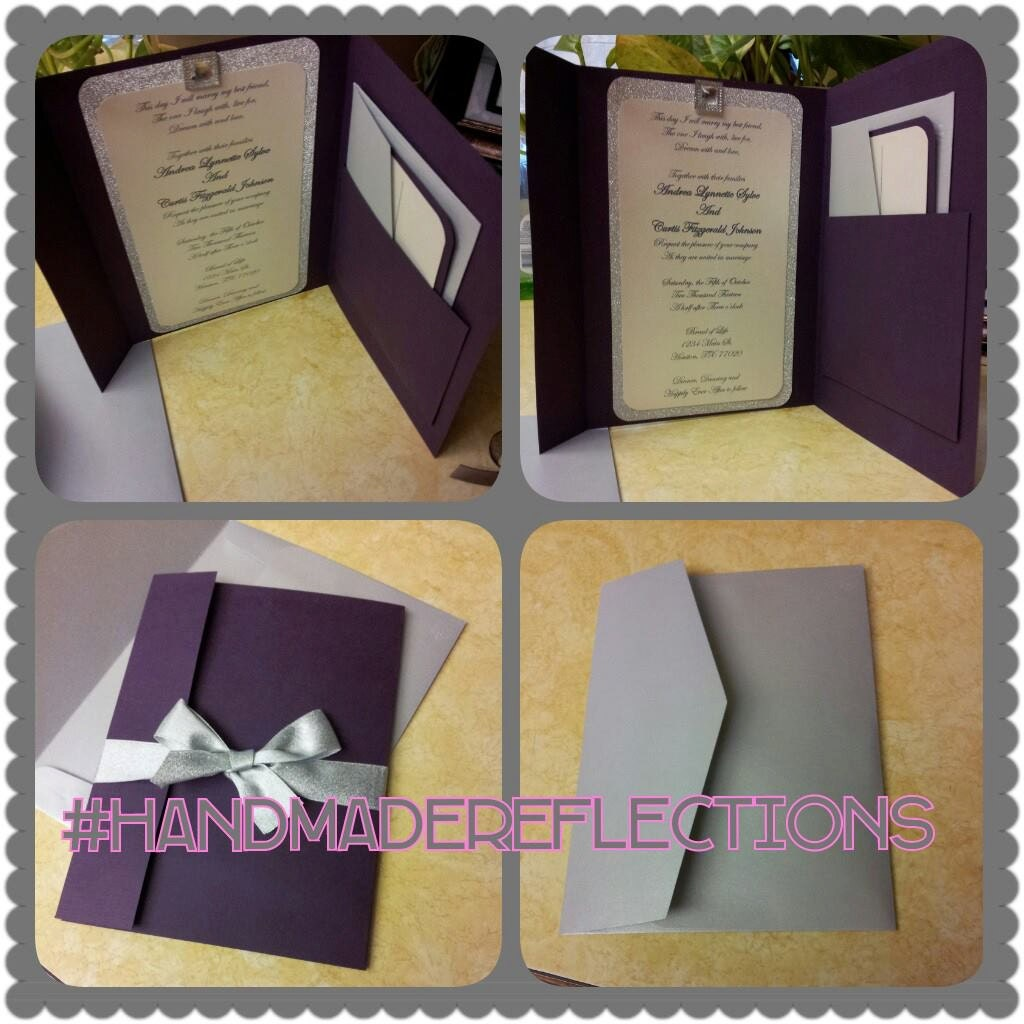 handmade purple and silver wedding invitations/ silver/, Wedding invitations