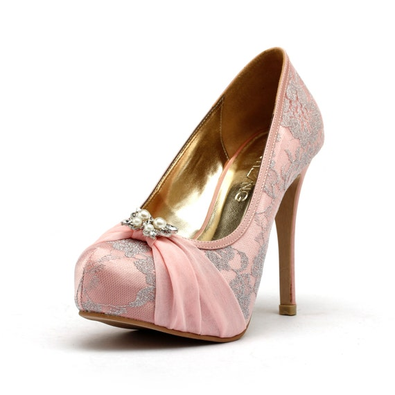 Baby Pink Wedding Heels, Pink Chiffon Wedding Shoes with Lace,  Pink Butterfly Wedding Heels, Sweet Pink Wedding Shoes