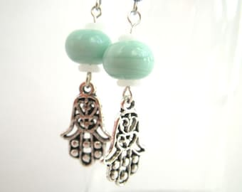 Hand of Fatima - earrings silver earrings, amulet, eye
