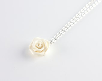 Bridal necklace - ivory rose pendant - off-white romantic necklace - polymer clay off-white rose