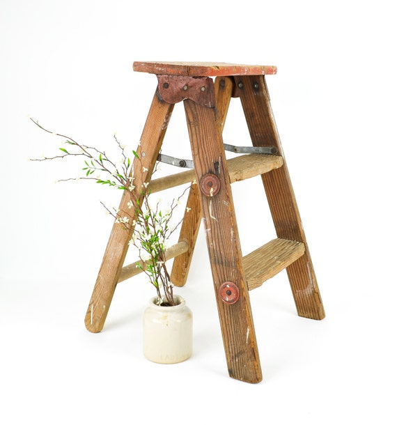 Vintage Rustic Wood Step Ladder