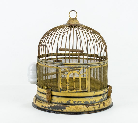 Antique Metal Bird Cage Mustard Yellow