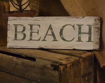 Hand Painted Beach Sign -  Distressed Wooden Sign