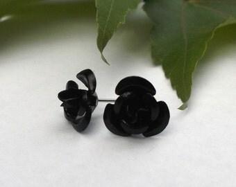 Black Rose earring studs