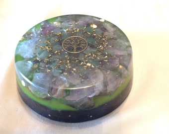 Medium orgone ASG charging disc with Shungite and a Tree of Life, 3.5 inch circle, 1 in thick