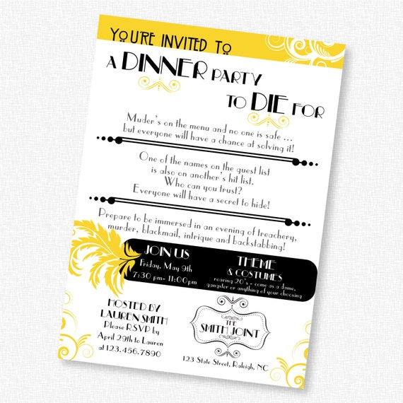 Murder Mystery Dinner Sheet Free: Murder Mystery Dinner Party / Birthday By GridCreativeStudio