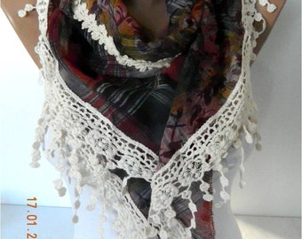 SALE ! 9.90 USD-Fashion Scarf--Triangular Scarf with Trim Edge-Gift Scarves