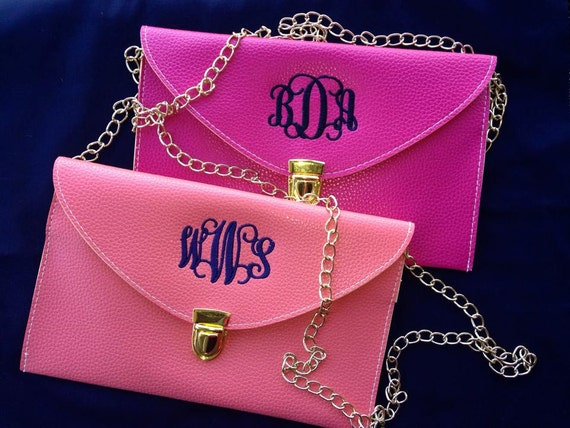 monogrammed leather clutch