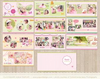 12x12 Album Template - Spring and Bright Colors, WHCC spec. 10 spread.