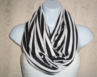 COTTON Jersey scarf Infinity scarf, Tube scarf, Circle scarf, White striped, Black striped, Jersey scarf # 12