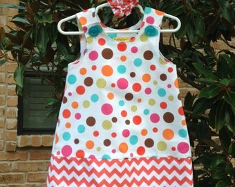 Lolli Dot Dress w/Coral Chevron Band (baby, infant, girl, child, toddler) jumper or sundress  -  with matching hair accessory.