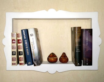 Wooden SHELF with frame-books, CDs or DVD movies-innovative design