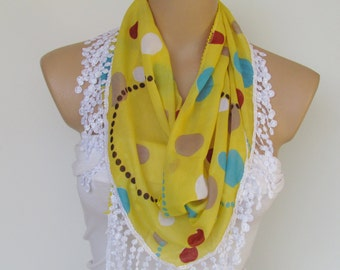 ON SALE - Yellow Polka Dot Scarf With Fringe-New Season Scarf-Headband-Necklace- Infinity Scarf- Spring Accessory-Long Scarf