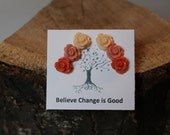 Believe's Earring Tree Autumn Earrings Cream Antique Pink Coral Rose Earring Post Set Vintage Inspired Jewelry Bohemian Jewelry Cool Jewelry