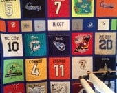 Tshirt Quilt with sashing & smaller graphics.