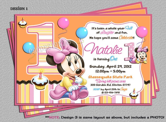 Baby Minnie Mouse 1st Birthday Party Invitations Includes