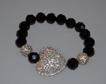 Pave heart bracelet with black Czech faceted beads.
