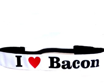 I Heart Bacon non slip headband on white.  The heart can be on light pink too, just message us that request