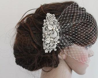 Wedding veil birdcage bridal birdcage veil wedding birdcage veil wedding blusher veil with blusher wedding fascinators wedding headpiece