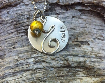 Doula hand stamped necklace with birth charm