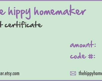 E-Gift Certificate 50 Dollars - The Hippy Homemaker's Handcrafted Shoppe