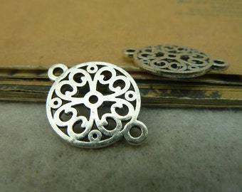 40pcs 18x23mm Antique Bronze / Antique Silver Flower Connectors Charms Pendants Jewelry Findings Wholsale AC4173