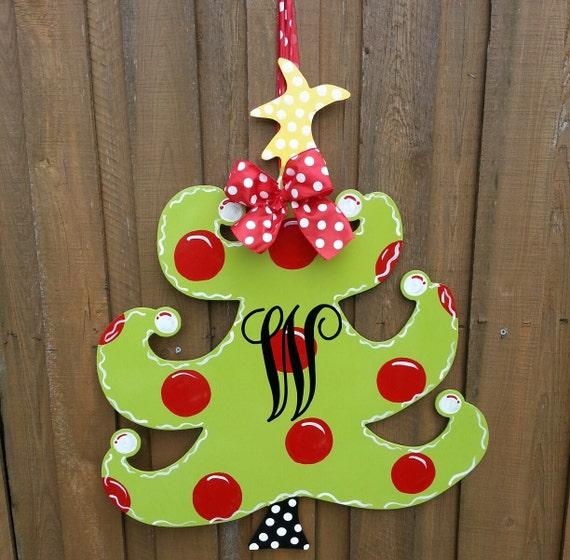 Christmas Door Hanger Door Decoration By Thepolkadotteddoor