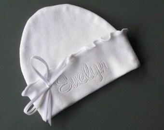 Custom Girly Girl RUFFLED NEWBORN HAT, White Name, White bow, Beanie Hat, Hospital Hat, Name Reveal, Baptism, Christening
