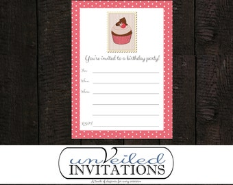 Printable, Instant Download Birthday Party Invitation - Piece of Cake