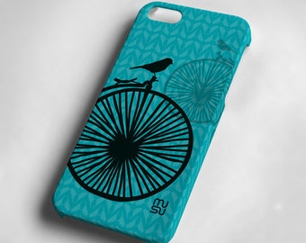 Bicycle with one bird (blue or pink) - iPhone 6 Case - iPhone 6 Cover - Plastic IP6 Case - 6S 6Plus